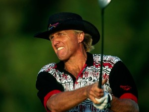 Dubai Desert Classic 1995, 19th-22nd January. Emirates Golf Club, Dubai, United Arab Emirates. Greg Norman of Australia teeing off., Image: 253663200, License: Rights-managed, Restrictions: , Model Release: no, Credit line: Profimedia, Corbis