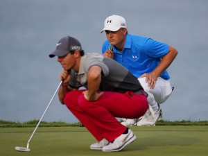 SHEBOYGAN, WI - AUGUST 13: Rory McIlroy of Northern Ireland and Jordan Spieth of the United States look over a green during the first round of the 2015 PGA Championship at Whistling Straits on August 13, 2015 in Sheboygan, Wisconsin.   Kevin C. Cox, Image: 255511448, License: Rights-managed, Restrictions: , Model Release: no, Credit line: Profimedia, AFP