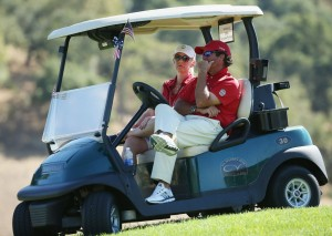 SAN MARTIN, CA - SEPTEMBER 20: Stuart Deane of the United States team waits in a golf cart during the Sunday Singles matches at the 27th PGA Cup at CordeValle on September 20, 2015 in San Martin, California.   Scott Halleran, Image: 259684197, License: Rights-managed, Restrictions: , Model Release: no, Credit line: Profimedia, AFP