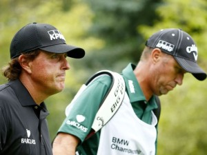 LAKE FOREST, IL - SEPTEMBER 18: Phil Mickelson walks with his caddie Jim 'Bones' Mackay during the Second Round of the BMW Championship at Conway Farms Golf Club on September 18, 2015 in Lake Forest, Illinois. Jamie Squire, Image: 259184574, License: Rights-managed, Restrictions: , Model Release: no, Credit line: Profimedia, AFP