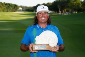 PLAYA DEL CARMEN, MEXICO - NOVEMBER 13: Pat Perez of the United States poses with the 2016 Champion's Trophy after winning the OHL Classic at Mayakoba on November 13, 2016 in Playa del Carmen, Mexico. Perez shot a final-round 67, winning his first PGA Tour title since 2009. Gregory Shamus, Image: 305515560, License: Rights-managed, Restrictions: , Model Release: no, Credit line: Profimedia, Getty images