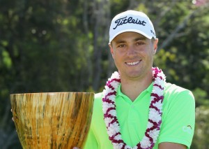 Justin Thomas of the United States holds his trophy after winning the SBS Tournament of Champions at Kapalua Resort's Plantation Course in Hawaii on Jan. 8, 2017. (Kyodo) ==Kyodo, Image: 310332630, License: Rights-managed, Restrictions: , Model Release: no, Credit line: Profimedia, Newscom