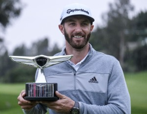 February 19, 2017 - Los Angeles, California, U.S - Dustin Johnson celebrates with his trophy after the final round of the PGA Tour Genesis Open golf tournament at Riviera Country Club on February 19, 2017, in Los Angeles. Dustin Johnson won the Genesis Open., Image: 321530389, License: Rights-managed, Restrictions: , Model Release: no, Credit line: Profimedia, Zuma Press - News