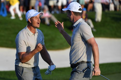 Oct 1, 2016; Chaska, MN, USA; Henrik Stenson of Sweden celebrates with Justin Rose of England after making an eagle on the 16th green during the afternoon four-ball matches in the 41st Ryder Cup at Hazeltine National Golf Club., Image: 301649901, License: Rights-managed, Restrictions: *** World Rights ***, Model Release: no, Credit line: Profimedia, SIPA USA