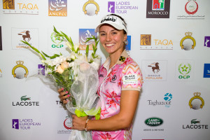 16/04/2017 Ladies European Tour 2016: Lalla Meryem Cup, Royal Golf Dar Es-Salam, Rabat, Morocco. 13-16 April 2017. Klara Spilkova of the Czech Republic during her post round press conference. Credit: Tristan Jones