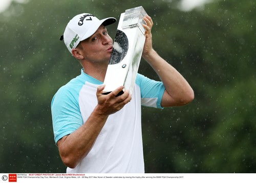 Alex Noren of Sweden celebrates by kissing the trophy after winning the BMW PGA Championship 2017. BMW PGA Championship Day Four, Wentworth Club, Virginia Water, UK - 28 May 2017, Image: 333877237, License: Rights-managed, Restrictions: , Model Release: no, Credit line: Profimedia, TEMP Shutterstock