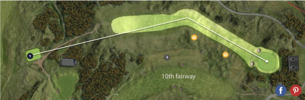 Hráči mají smůlu. Krátit si cestu přes desátou fairway nemůžou, z devítky bude na desáté fairwayi vnitřní out.