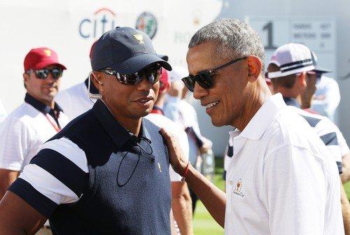 Tiger Woods dohlížel na dění z pozice asistenta kapitána a potkal se i bývalým prezidentem USA Barrackem Obamou (Foto: Profimedia)